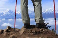 Backpacker legs hiking Royalty Free Stock Image