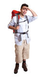 Backpacker looking around - complete body Stock Photo