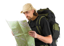 Backpacker looking into map. Portrait of tourist backpacker looking into map Stock Photos