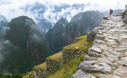 A backpacker in Machu Picchu in Peru royalty free stock images