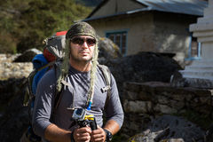 Backpacker man adventurer portrait. Royalty Free Stock Image