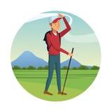 Backpacker man cap walking stick-badge. Vector illustration eps 10 Royalty Free Stock Photography