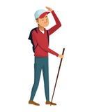 Backpacker man cap walking stick. Vector illustration eps 10 Royalty Free Stock Images