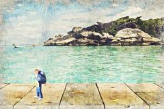 backpacker miniatuurcijfer met aardscène Digitaal Art Impas stock afbeeldingen