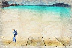 backpacker miniatuurcijfer met aardscène Digitaal Art Impas royalty-vrije stock afbeeldingen