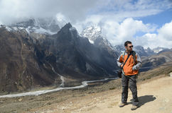 Backpacker in the mountains stock photos