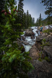 Backpacker near Jasper Creek Falls Colorado Indian Peaks Wilderness royalty free stock photos