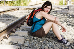 Backpacker near railway Stock Photos