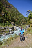 Backpacker in Nepal Stock Photo