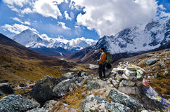 Backpacker in the outdoors Stock Photo