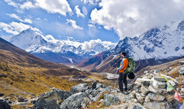 Backpacker in the outdoors. Backpacker in the mountains of Everest base camp trail in Nepal Royalty Free Stock Images