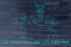 Backpacker over world map, life across the globe Royalty Free Stock Images