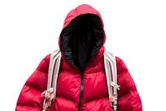 Backpacker que lleva abajo de la chaqueta Foto de archivo