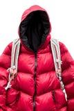 Backpacker que lleva abajo de la chaqueta Fotografía de archivo libre de regalías