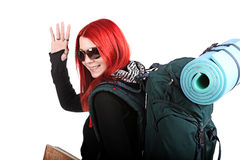 Backpacker ready to go Royalty Free Stock Images