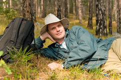 Backpacker's break Royalty Free Stock Images