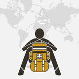 Backpacker sit relax on world map Stock Images