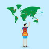 Backpacker stand in front of world map Stock Photos