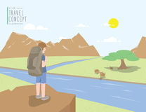 Backpacker standing on a cliff looking out to the landscape moun. Illustration vector backpacker standing on a cliff looking out to the landscape mountains view Stock Image