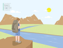 Backpacker standing on a cliff looking out to the landscape moun. Illustration vector backpacker standing on a cliff looking out to the landscape mountains view royalty free illustration