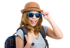 Backpacker with sunglasses Royalty Free Stock Photo