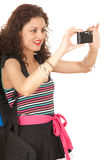 Backpacker taking picture Royalty Free Stock Photography