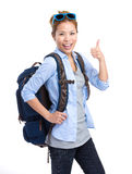 Backpacker with thumb up Royalty Free Stock Photos