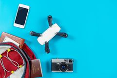Backpacker tourist travel gadgets and objects. In Backpack Royalty Free Stock Image