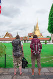 Backpacker tourists looking Grand palace Stock Photography