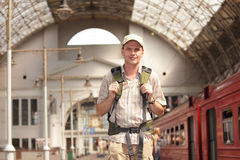 Backpacker on the train station Stock Image