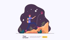 backpacker travel adventure concept. outdoor vacation recreation in nature theme of hiking, climbing and trekking with people vector illustration
