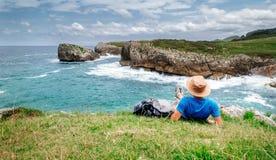 Backpacker traveler enjoy with beautiful sea landscape Stock Photography