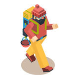 Backpacker Traveler Polygonal Character Walk Stock Photo