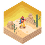 Backpacker Traveler Polygonal Character Walk Stock Images