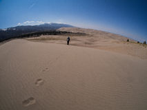 Backpacker Treks Along Sand Dune at Great Sand Dunes National Pa Royalty Free Stock Image
