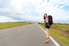 Backpacker turn around looking for right route. Leisurely young woman backpacker turn around looking for right route when she travel hiking and walking on Royalty Free Stock Photos