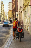 A backpacker in Valparaiso, Chile Royalty Free Stock Images