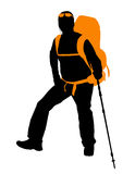 Backpacker. Vector  silhouette Royalty Free Stock Photo