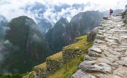 Backpacker w Mach Picchu w Peru Obrazy Royalty Free