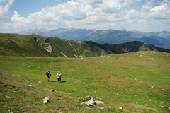 Backpacker w Pyrenees Fotografia Royalty Free