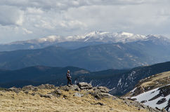 Backpacker watching the views royalty free stock photo