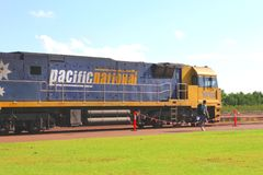 Backpacker will travel with the Ghan train, railway station Darwin,Australia  Stock Photo