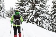 Backpacker wycieczkuje w białej zimy śnieżnym lesie zdjęcie royalty free
