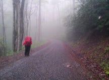Backpacker Wycieczkuje w dół żwir drogę zdjęcie royalty free