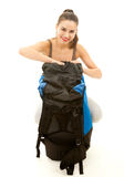 Backpacker young woman Royalty Free Stock Photos