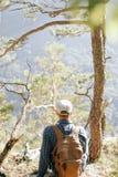 Backpackermens die dichtbij de boom rusten stock afbeeldingen