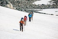 Backpackers проходят поле снега в скалистой горе в Altai mo Стоковые Изображения RF