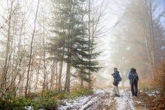 Backpackers человека и женщины на туманной горной тропе леса Стоковое Изображение RF