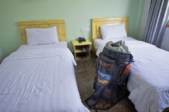 A backpackers 2 beds room Stock Photos