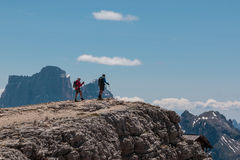 Backpackers Achieve Their Aim: Get the Mountain& x27;s Top Royalty Free Stock Photos
